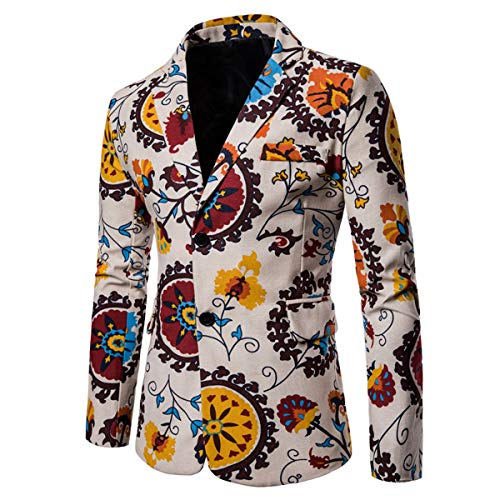 (Mens Suit Jacket Floral Printed Two Button Casual Blazer Sports Coat)
