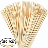 "HAKOPEN 250 PCS 12"" Bamboo Marshmallow Roasting Barbecue Sticks Extra Long Bamboo Skewers Perfect for Hot Dog Camping Bonfires"