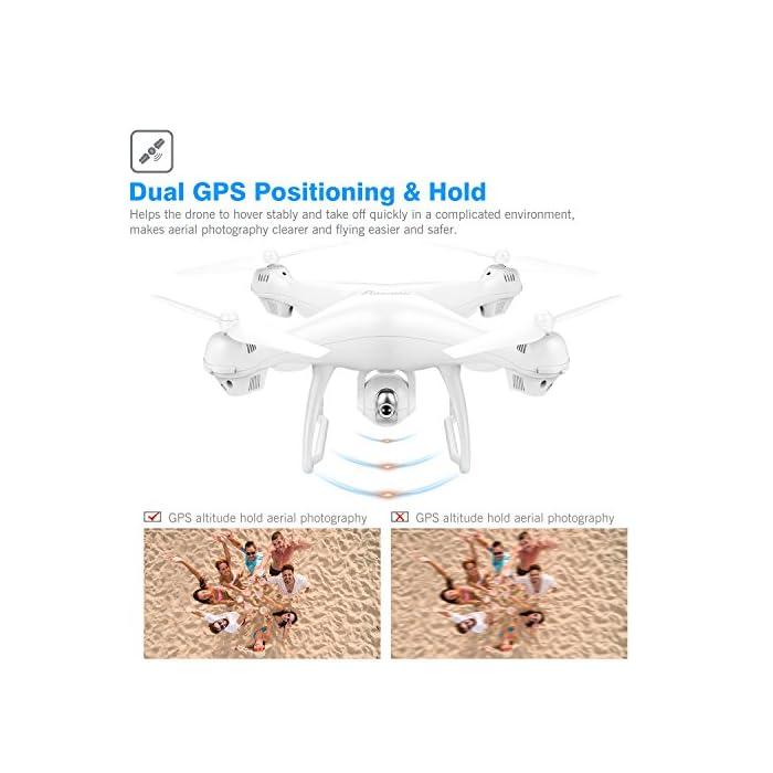 【Vuelo Asistido por 2 Modos GPS】integrado GPS y GLONASS sistema de posicionamiento, le proporciona detalles de posicionamiento precisos de su Drone con camara HD. Construido en la función Return-to-Home (RTH) para un dron más seguro, el dron regresará automáticamente a su hogar precisamente cuando la batería está baja o la señal es débil cuando vuela fuera del alcance, sin preocuparse por perder el dron. 【Cámara Wi-Fi FPV 1080P 120 ° FOV Optimizada】drone camara angulo ajustable de 90 °, captura videos y fotos de alta calidad. Puede disfrutar de la visualización en tiempo real directamente desde su teléfono(Después de conectar wifi). Ideal para realizar selfie, capturando cada momento desde una perspectiva de pájaro. 【Modo Sígueme】el RC drone lo seguirá automáticamente y lo capturará donde sea que se mueva. Manteniéndolo en el marco en todo momento, más fácil de obtener tomas complejas, proporciona vuelo manos libres y autofoto. drone económico con GPS