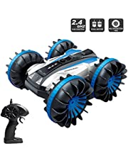 Amphibious RC Stunt Car 2.4Ghz - 4WD Water and Land Remote Control Boat Truck Monster Double Sided Rotate, 360 Degree Spinning and Flips Land Wateproof elecrtric Car Toy ,Christmas Gifts for Kids (Blue)