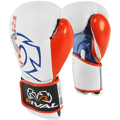 Rival Boxing RB7 Fitness+ Hook and Loop Bag Gloves - 14 oz. - White/Blue/Red