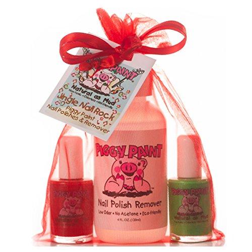 Piggy Paint Non-toxic Girls Nail Polish Kit - Natural Low Odor Fingernail Polish for Kids - Jingle Nail Rock (Red, Green, Remover) (Nails Kids Christmas)