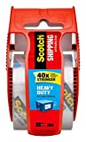 Scotch Heavy Duty Shipping Packaging Clear Tape 4VX6V, 1'' Core, 1.88'' x 22.2 Yard, Red Dispenser, 4-Pack