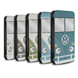 STUFF4 PU Leather Wallet Flip Case/Cover for Apple iPhone X/10 / Pack 7pcs Design / Retro T1 Camper Bus Collection
