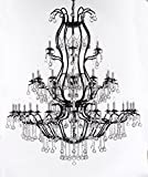 Large Wrought Iron Chandelier Chandeliers Lighting With Crystal Balls! H60'' x W52'' - Great for the Entryway, Foyer, Family Room, Living Room!