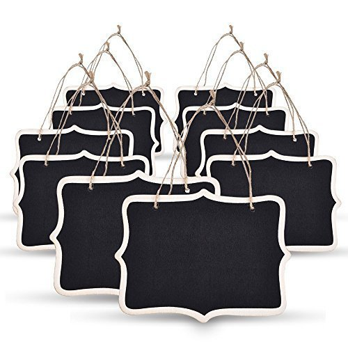 SUPERIORFE Chalkboard Sign (Set of 10) – Decorative Rectangle Mini Hanging Chalk Board with Jute for Wedding, Kitchen, Restaurant Signs, 4.7 X 6.3 Inch - Schoolhouse Naturals