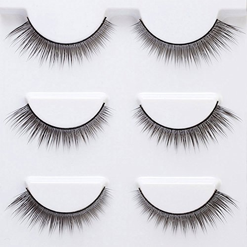 Taiguang 3 Pairs Thick Curly False Eyelashes Fake Eye Lashes Flexible Wispy False lashes for Beautiful Natural Looking Black