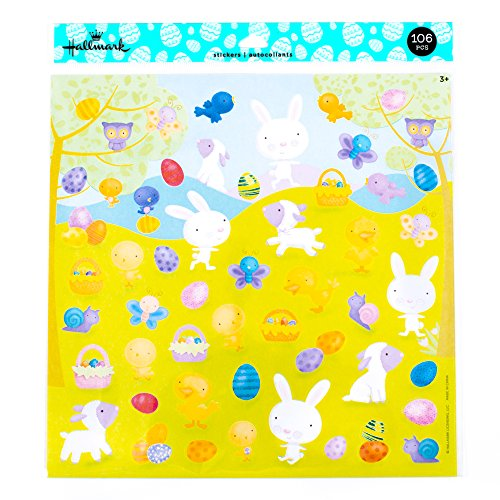 Hallmark Giant Easter Sticker Sheets, 106 Count (Bunnies, Lambs and Easter Eggs)