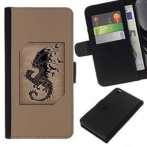 Planetar® Modelo colorido cuero carpeta tirón caso cubierta piel Holster Funda protección HTC DESIRE 816 ( Dragon Fairytale Brown Black Birds )