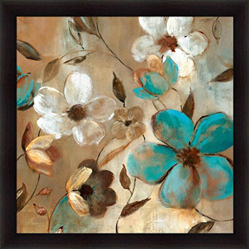 Garden Glow I Carol Robinson Teal Blue Floral Framed Art Print Wall Decor Picture (Teal And Brown Wall Art)