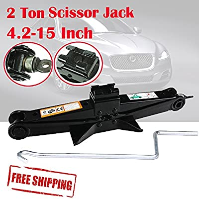 2 Ton Scissor Jack for Car Van Truck Vehicle Tire Changing Repair Wind Up Rustproof with Crank Speed Handle Lift 105-385mm, 1PCS Black/US Ship