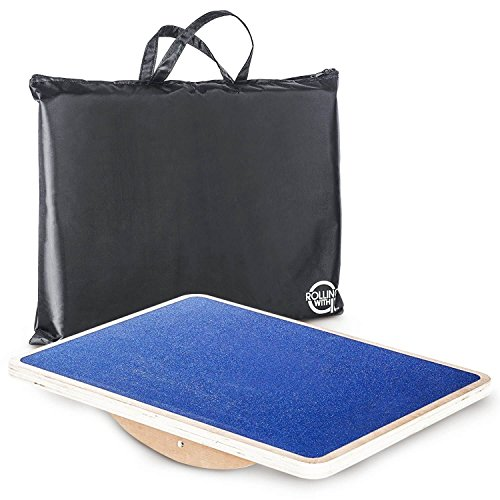 Rocker Lunch - Professional Wooden Rocker Board - Improve Core Strength, Flexibility, Posture, Stability - Full Non-Slip Platform - Safe, Fun Low Impact Exercise - Commercial-Grade Balance Board Travel Bag Included