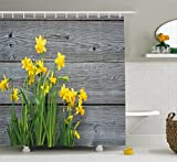Ambesonne Yellow Flower Shower Curtain, Bouquet Daffodils on Wood Planks Gardening Rustic Country Life Theme, Fabric Bathroom Decor Set Hooks, 84 inches Extra Long, Yellow Grey