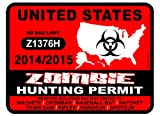 United States Zombie Hunting Permit 2014/2015 Car Decal / Sticker