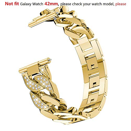 Bling Rhinestones Band Compatible Samsung Galaxy Watch 46mm Women, 22mm Metal Band Replacement Band Strap Watch Bracelet for Gear S3 Cassic/S3 Frontier Accessory (Gold, Not Fit Galaxy Watch 42mm)