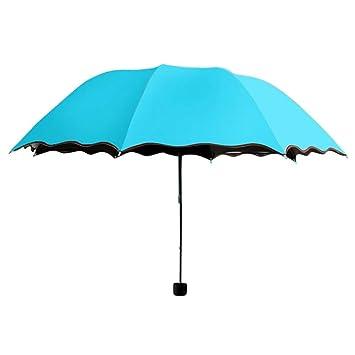 TAOtTAO Sombrilla de Viaje Plegable Lluvia Resistente al Viento Paraguas Plegable Anti-UV Sol/