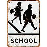 Wall-Color 7 x 10 Metal Sign - School Crossing - Vintage Look