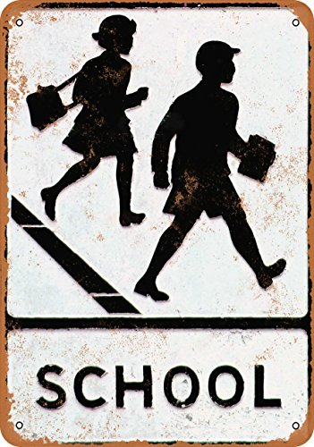 Sign Crossing School - Wall-Color 7 x 10 Metal Sign - School Crossing - Vintage Look