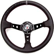 Tanaka Decked Out Edition 350mm Deep Dish 6 Bolt PU Carbon Fiber Steering Wheel (Universal)