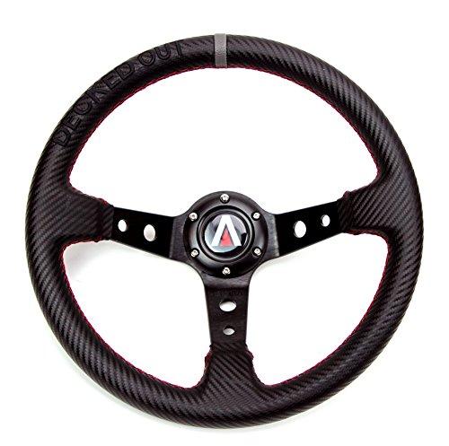 "Tanaka""Decked Out"" Edition 350mm Deep Dish 6 Bolt PU Carbon Fiber Steering Wheel (Universal)"