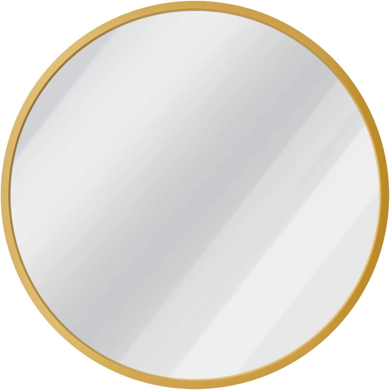 USHOWER 24-Inch Gold Round Wall Mirror, Large Metal Frame Decor Mirror for Bathroom, Entryway, Vanity, and More, Farmhouse & Modern Style