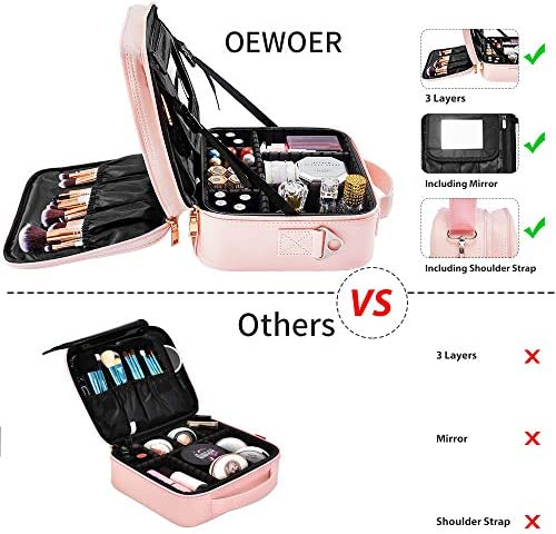 Travel Makeup Bag with Mirror - 3 Layers Makeup Case Travel Makeup Bag Organizer with Shoulder Strap and Adjustable Dividers, PU Leather Cosmetic Bag for Cosmetics Toiletry, Millennial Pink