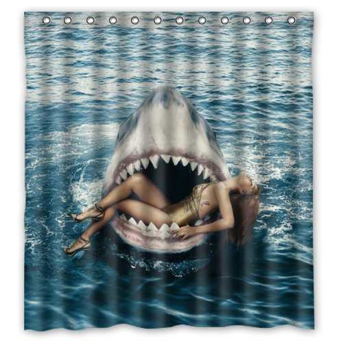 Amazing Style Beautiful Girl In Shark's Mouth Shower Curtain