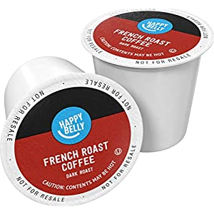 Well-Being-Matters 51nxSEdk5ZL._SS300_ Amazon Brand - 100 Ct. Happy Belly Dark Roast Coffee Pods, French Roast, Compatible with Keurig 2.0 K-Cup Brewers