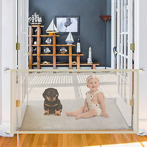 - Safety Gate for Dogs, Magic Gate Portable Mesh Folding Safety Fence,43.3