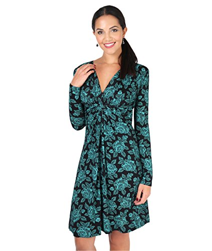 Krisp Long Sleeve Knot Front Dress (Teal, 4),[5285-TEA-08]