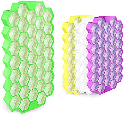Cubito de hielo de silicona 37 Cubos con cubierta impermeable - FDA Grado de Alimentos Moldes de la Bandeja de Hielo /100% Sin BPA / No Tóxico/Protección ...