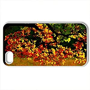 AUTUMN TREE - Case Cover for iPhone 4 and 4s (Forests Series, Watercolor style, White)