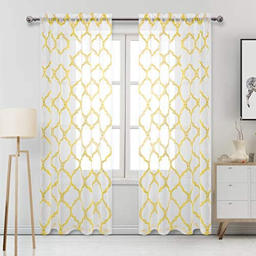 DWCN Moroccan Tile Sheer Curtains – Faux Linen Embroidered Geometric Rod Pocket Semi Voile Bedroom and Living Room Window Curtain Panels, Set of 2, 52 x 84 Inches Long, Yellow