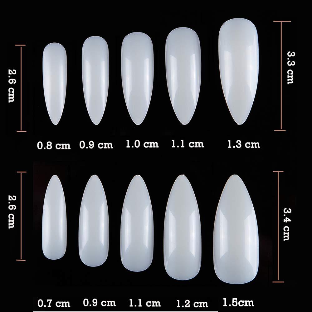 Amazon.com: Krofaue puntas de uñas de Stiletto acrílicas ...
