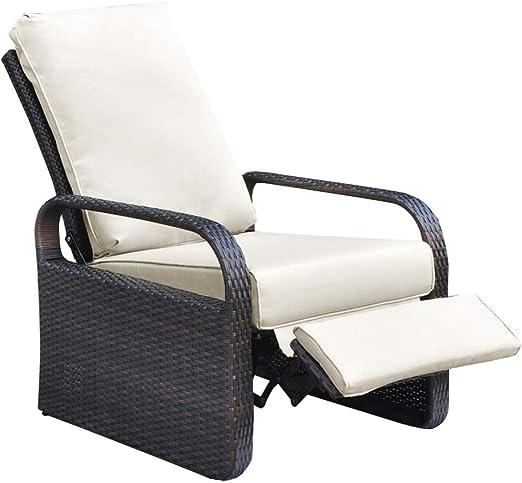 ATR Silla reclinable de mimbre de resina para exteriores con cojines: Amazon.es: Hogar
