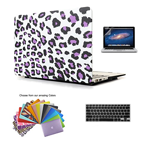"""MacBook Air 13"""" Case TECOOL® 3 in 1 Ultra Slim Multi Colors Plastic Hard Shell Cover, Silicone Keyboard Cover and Screen Protection for MacBook Air 13"""" with TECOOL® Logo Mouse Pad (MacBook Air 13"""" Model: A1466 and A1369, Purple Leopard)"""