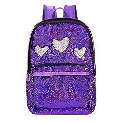 Shining Purple Reversible Sequins School Backpack
