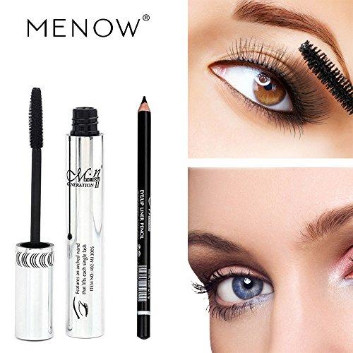 Barhalk Eye Makeup Cosmetic Set Waterproof Long Lasting Express Mascara + Eyeliner Pencil,New Volumizing Long Curling Eye Lashes Paradise,Depth and Glamour Effortlessly,Blackest Black (Black)