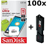 100 PACK - SanDisk Ultra 16GB MicroSD HC Class 10 UHS-1 Mobile Memory Card (SDSQUNS-016G) LOT OF 100 with ultra high speed USB 3.0 MemoryMarket MicroSD & SD Memory Card Reader