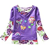 VIKITA Kid Girl Cotton Long Sleeve Bird Butterfly Flower T Shirt Tee Top Purple 3T