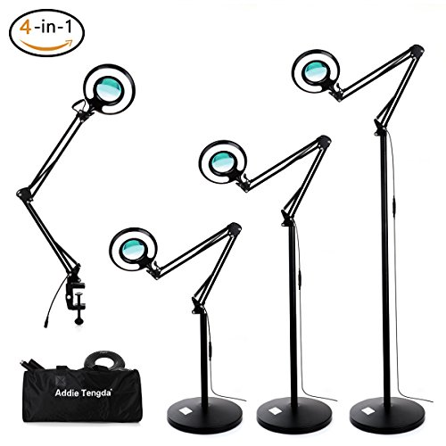Sunlight Led (Magnifying Floor Lamp, Addie Super Bright 4-in-1 Facial Magnifier Lamp - 8x Dimmable Full Spectrum Natural Daylight Sunlight LED Standing Light with Utility Clamp, Desk/ Task Craft Lamp-Black)