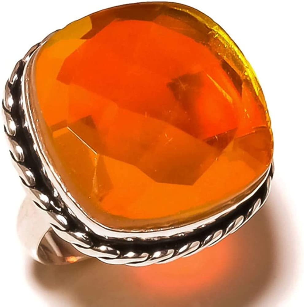 Jewels House Yellow Sparkling Topaz Gemstone Silver Plated Handmade Statement Rope Bezel Ring US-9