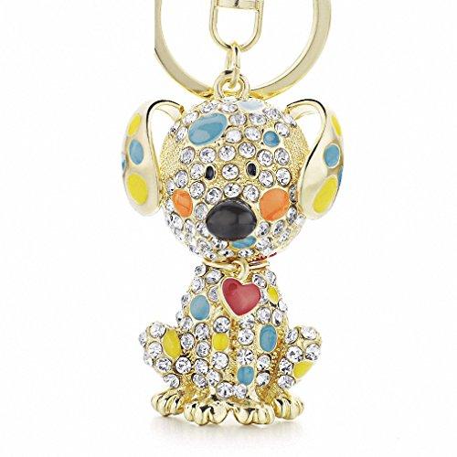 Womens Keychain Enamel Dalmatian Dog Red Heart Crystal Handbag Pendant Keyrings Keychains For Car Key Chains Holder Women K149 - Dalmatian Keychain