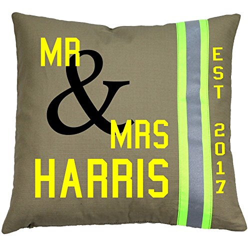 Fully Involved Stitching Personalized Firefighter Wedding Pillow Est. (Tan)