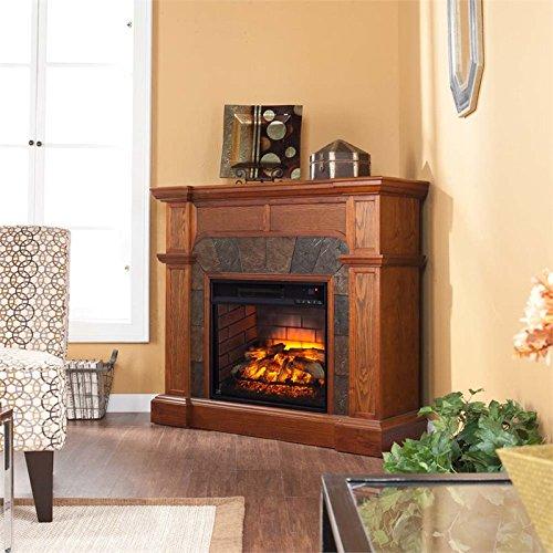 BOWERY HILL Faux Stone Corner Fireplace in Oak