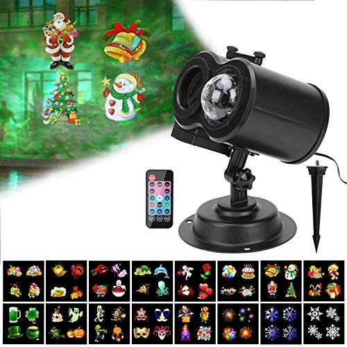 Htwon Christmas Projector Lights, 2018 New Halloween Water Wave Light Projector for Holiday with 12 Slides Patterns, Remote Control Landscape Decoration Lighting for Birthday Party Yard Garden (Ocean)