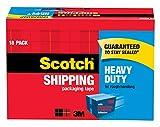 Scotch Heavy Duty Shipping Packaging Tape, 3' Core, 1.88' x 54.6 Yards, 18-Rolls (3850-18CP)