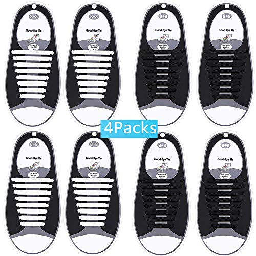 (No Tie Shoelaces for Kids & Adults(4 / 6 packs), Silicone tieless elastic shoe laces for Running Flat Sneakers Board Shoes Casual Shoes and Boots,Waterproof (2Black&2White)        )