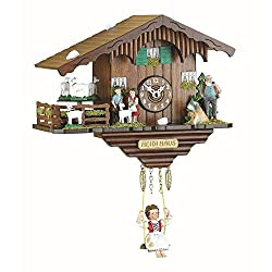 Black Forest Kuckulino Quartz Swinging Doll Clock with Goats by Trenkle Uhren