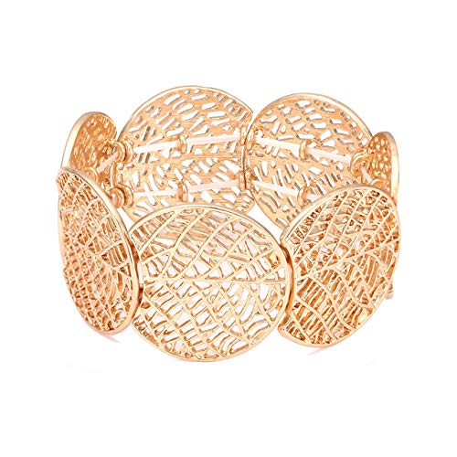 ZITULRY Filigree Bracelet Wide Bohemia Textured Statement Hollowed Out Stretch Bracelet Leaf Bangle for Women (Gold) ()